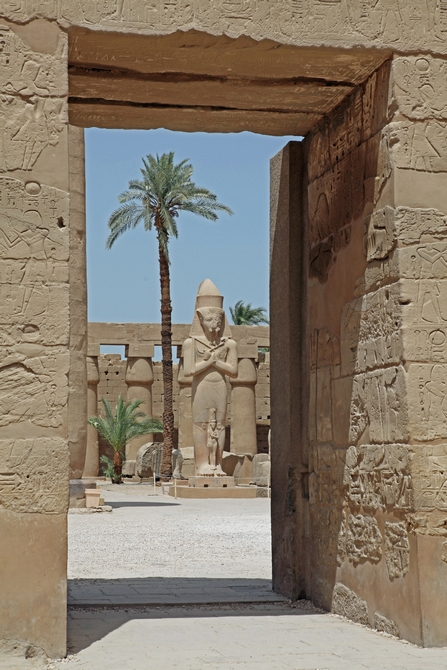 Statue viewed from Temple of Ramesses III